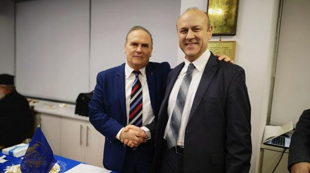 Μιχαήλ Μαντζαφός και Στράτος Καρούνιας στην κοπή πίτας του ΕΛ.Ι.Ν.Τ 2020